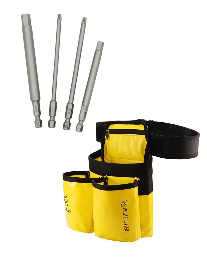 Kit de Cinturón de Route Setter amarillo+ puntas de taladro
